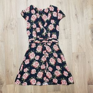 Topshop Navy and Floral Dress Size 6